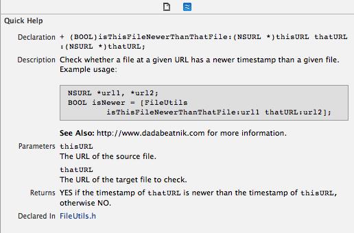 Xcode Help Inspector